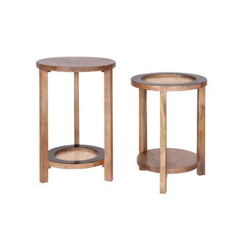 Omaro Mango Wood & Cane Circular Side Tables (Set of 2)