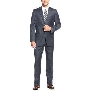 Tommy Hilfiger Keene Navy Sharkskin Plaid Wool 2pc Suit 42 Long Pants 36W