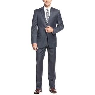 Tommy Hilfiger Keene Trim Navy Blue Sharkskin Plaid Suit 40 Long Pants 34W