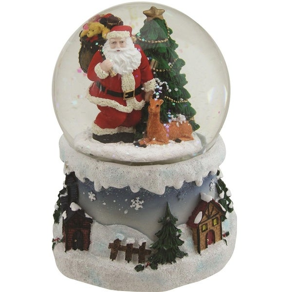 """5.5"""" Santa Claus with Christmas Tree and Reindeer Swirling Snow Globe Glitterdome"""