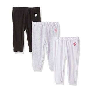 U.S. Polo Assn. Little Girls White Black Gray Back Bow Leggings 3 Pc-Pack 2-4T
