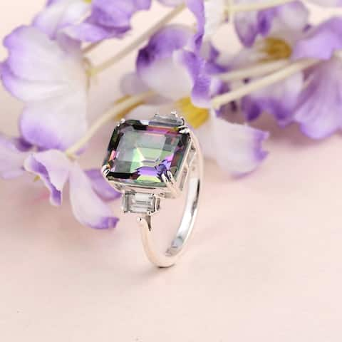 Mystic Quartz, Topaz Sterling Silver Octagon 3-Stone by Orchid Jewelry