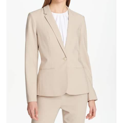 Calvin Klein Women's Blazer Beige Size 16 One-Button Notch-Collar