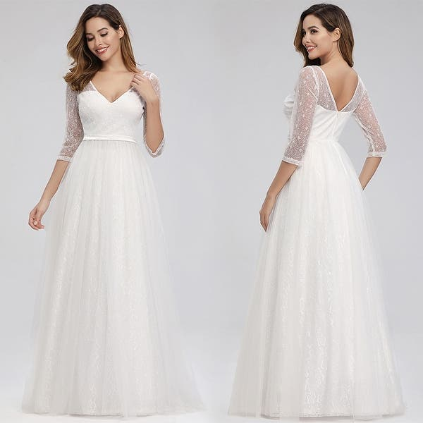Shop Ever Pretty Womens Elegant A Line Floral Lace Bridal Gowns