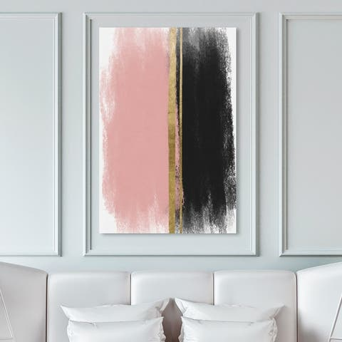 Oliver Gal 'Blushing Around' Abstract Wall Art Canvas Print Paint - Pink, Gold