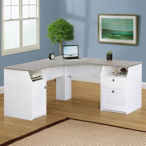 Saint Birch Finley White 63-inch L-Shape Desk