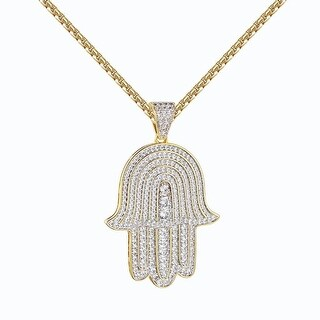 Hamsa Hand Pendant 14k Gold Tone Iced Out Lab Diamonds Steel Necklace