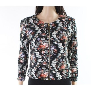 Philosophy NEW Black Womens Size Small S Floral Ponte Short Jacket