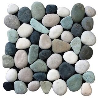 Miseno MT-P3PGBT Pebble Natural Stone Mosaic Tile (10.12 SF / Carton) - green/black/tan/white