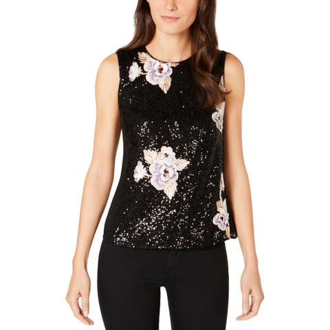 Nanette Lepore Womens Roll The Dice Tank Top Sequined Floral Print - Black - 0