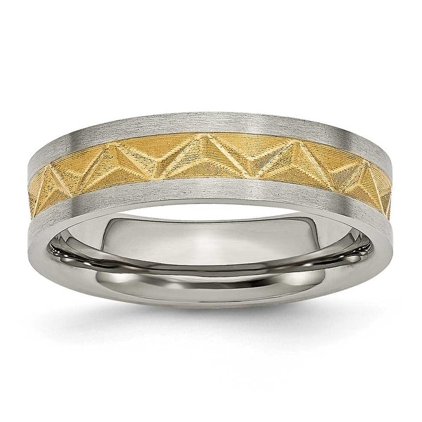 Chisel Titanium Satin and Gold Plated 6mm Band