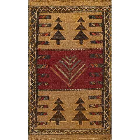 "Tribal Kilim Shiraz Persian Area Rug Wool Flat-woven Foyer Carpet - 1'10"" x 2'11"""