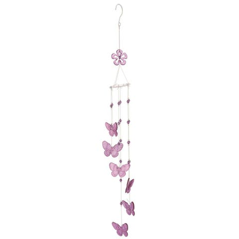 "36.5"" Purple and White Easter Butterfly Chime Outdoor Hanger"