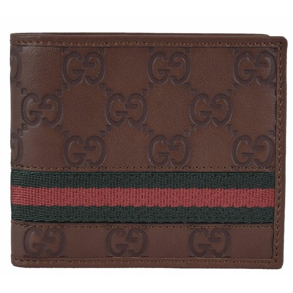 0546a2971a07 Gucci Men's 295419 Brown Leather GG Guccissima Web Stripe ID Bifold  Wallet