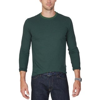 Nautica Pacific Pine Green Striped Crewneck Long Sleeve T-Shirt Large L