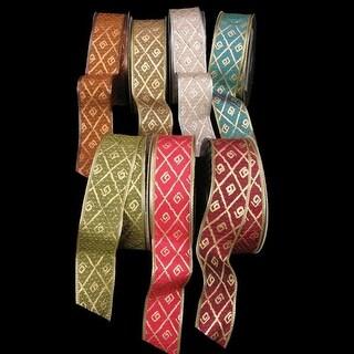 "Amber Diamond Print Taffeta Wired Craft Ribbon 1.5"" x 40 Yards"