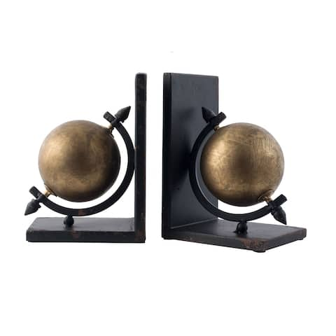 """Set of 2 Gold and Black Sphere Iron Bookends 8"""""""