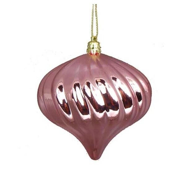 "4ct Shiny Bubblegum Pink Swirl Shatterproof Onion Christmas Ornaments 4"""