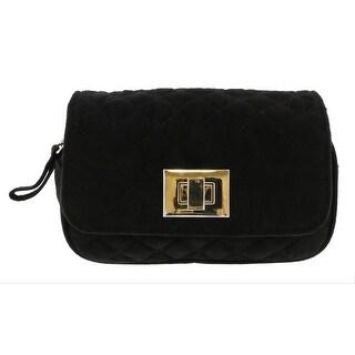 Scheilan Black Suede Quilted Boxy Crossbody Bag