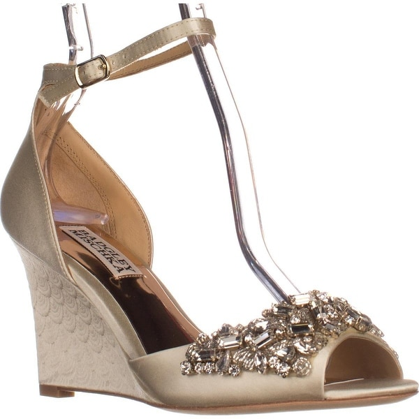 Badgley Mischka Barbara Wedge Evening Sandals, Ivory - 5.5 us