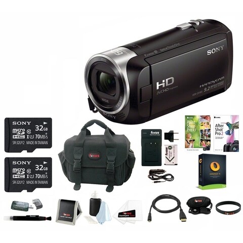 Sony HDR-CX405 1080p Full HD 60p Handycam Camcorder w/ Two 32GB SD Cards & Li-ion Battery Bundle