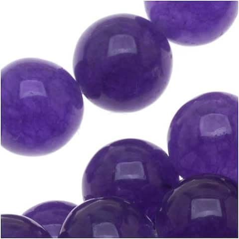 Deep Purple Candy Jade 8mm Round Beads (15.5 Inch Strand)