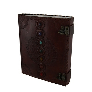 Colorful Chakra Stones Double Clasp Embossed Leather Bound Journal 10 X 13 Inch