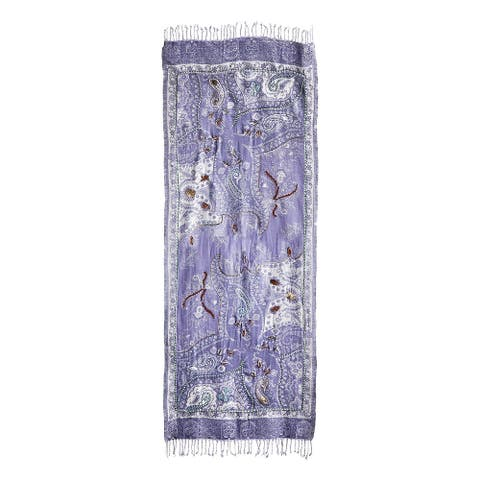 "Catalog Classics Lavender Shawl Wrap - Purple & Cream Paisley Scarf 28"" x 72"" - One size"