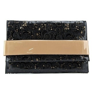 Buco Patent Lace Clutch Women Synthetic Clutch - Black