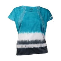 Style & Co Sport Women's Bottom Tie-Dye Thin Tee Shirt - xL
