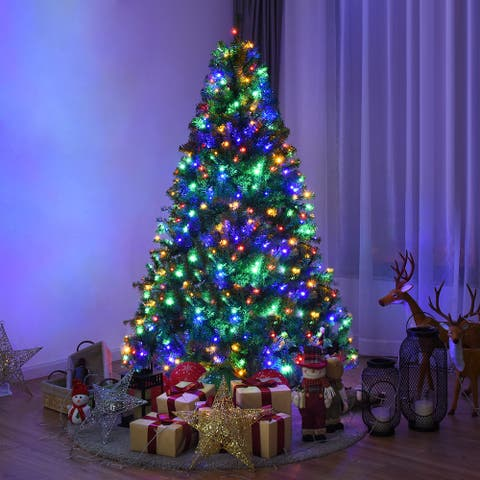 Costway 6Ft Pre-Lit Artificial Christmas Tree Hinged 350 LED Lights - 6 FT