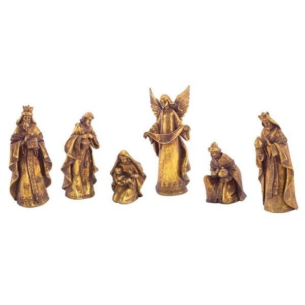 Set of 6 Distressed Gold-Tone Religious Christmas Nativity Scene Figures