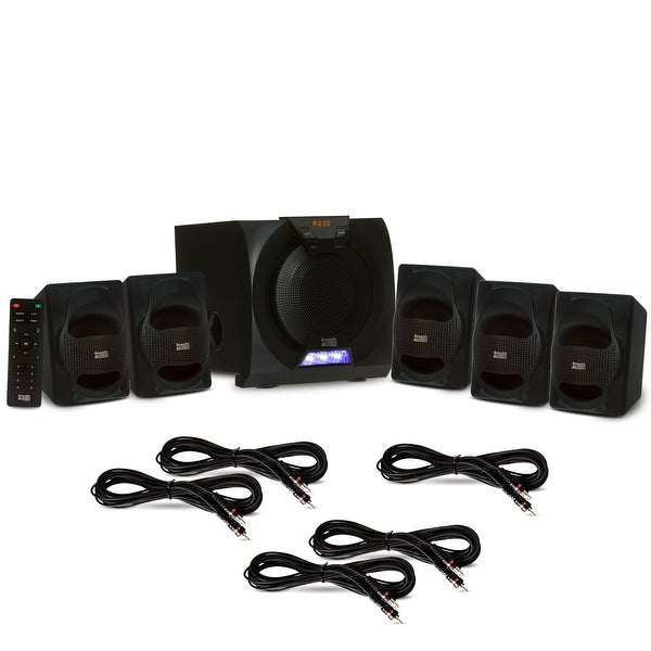 Acoustic Audio AA5230 Home 5.1 Bluetooth Speaker System with LED & 5 Ext. Cables