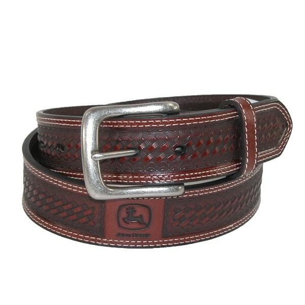 John Deere Men's Leather Basketweave Bridle Belt with Removable Buckle
