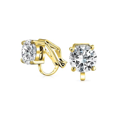 2 CT Brilliant Cut Solitaire Round Cubic Zirconia CZ Clip On Stud Earrings For Women 14K Gold Plated Brass