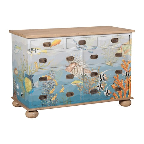 """32"""" Blue and Beige Waterfront Chest of Drawers"""