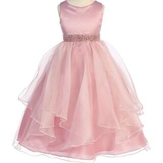 Flower Girl Dress Asymmetric Ruffles Satin & Organza Rose CB 302