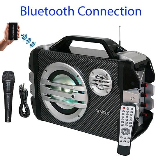 Boytone BT-51M Portable Audio karaoke Bluetooth PA Speaker System with Microphone, F