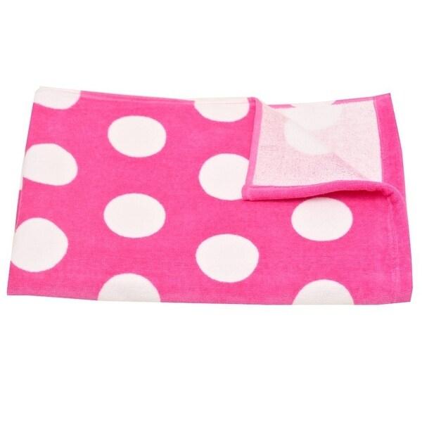 """Terry Town Girls Fuchsia White Polka Dot Pattern Cotton Beach Towel 30""""x60"""""""