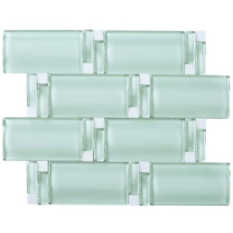 "TileGen. 3D Arched 2.5"" x 4.5"" Glass Mosaic Tile in Soft Mint Wall Tile (10 sheets/8sqft.)"
