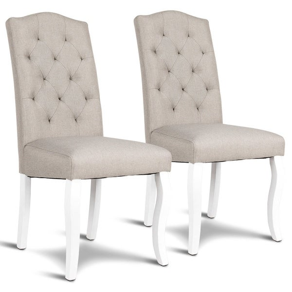 Shop Gymax Set of 2 Fabric Upholstered Dining Chair Tufted ...