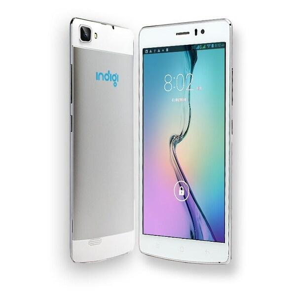 "Indigi® V19 Factory Unlocked 3G GSM+CDMA 5.5"" HD Android 4.4 KitKat Dual-Sim & Dual-Core Smartphone (White) - Silver/White"
