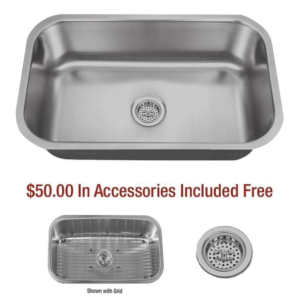 """Miseno MSS3018C 30"""" Undermount Single Basin Stainless Steel Kitchen Sink - Drain Assembly and Basin Rack Included Free"""