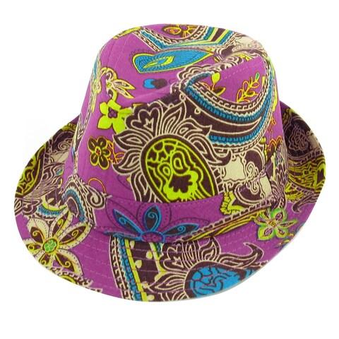 Unique Bargains Summer Travel Beach Paisley Print Fuchisa Fedora Trilby Hat for Boys Girls
