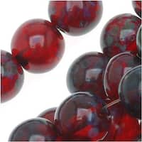 Czech Glass Druk Round Beads 8mm Ruby Picasso (25)