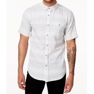 Ezekiel Gray Mens Size Large L Striped Knit Button Down Shirt