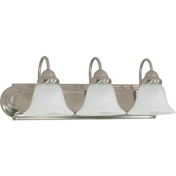 "Nuvo Lighting 60/321 Ballerina 3 Light 24"" Wide Vanity Light with Alabaster Glass Shades - Brushed nickel"