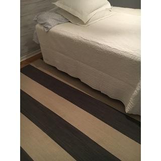Shop Mendocino Handmade Stripe Gray White Area Rug 8 X