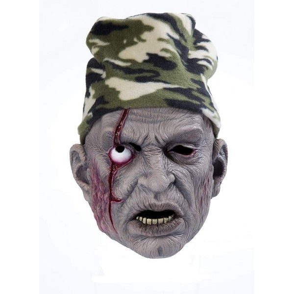 Zombie Costume Mask W/Hat Hunter - Brown
