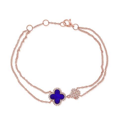 Flower Bracelet Lapis & Diamond 14K Rose Gold by Joelle Collection